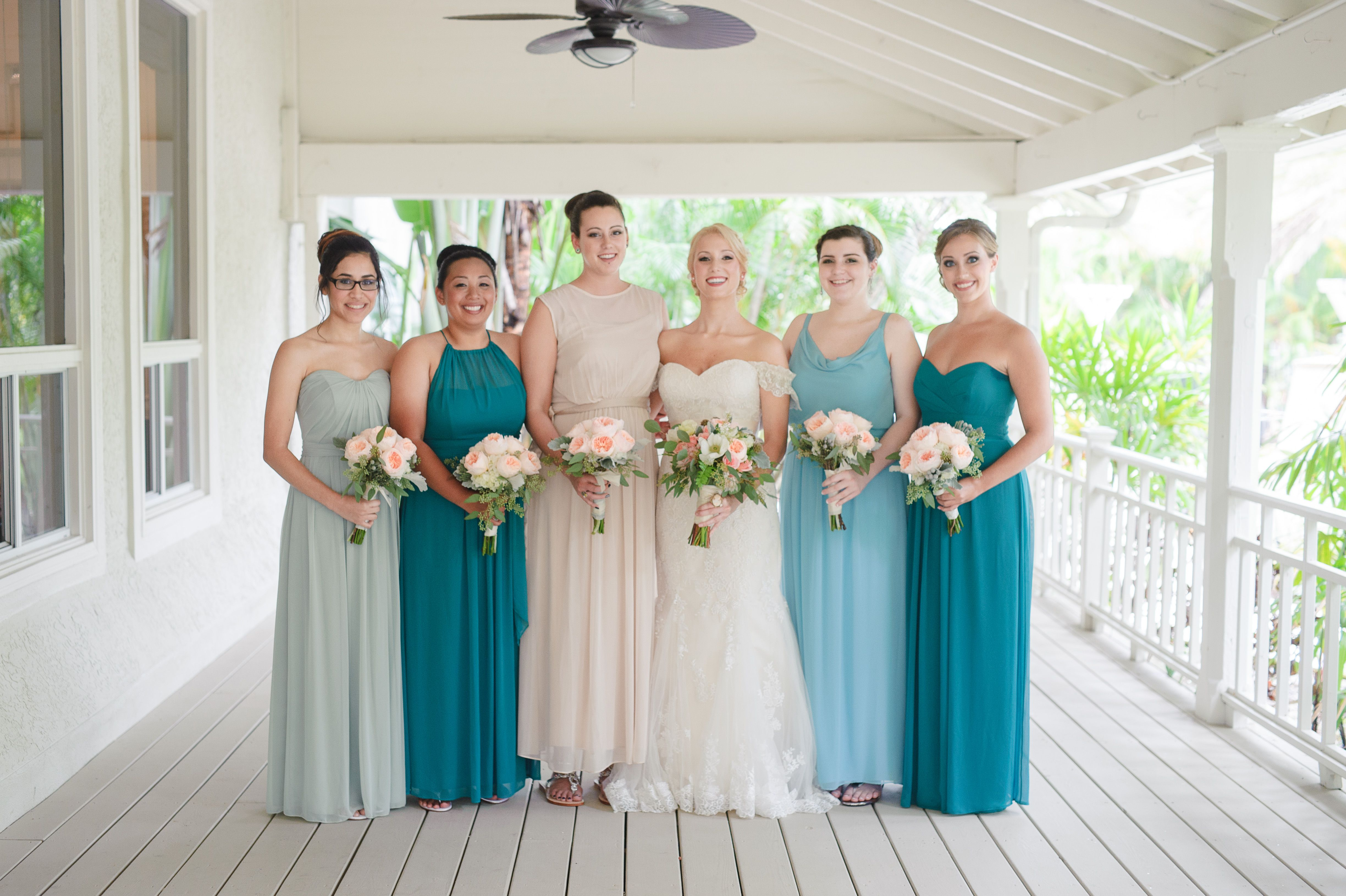 Bridesmaid Dresses In Champagne And Green Hues