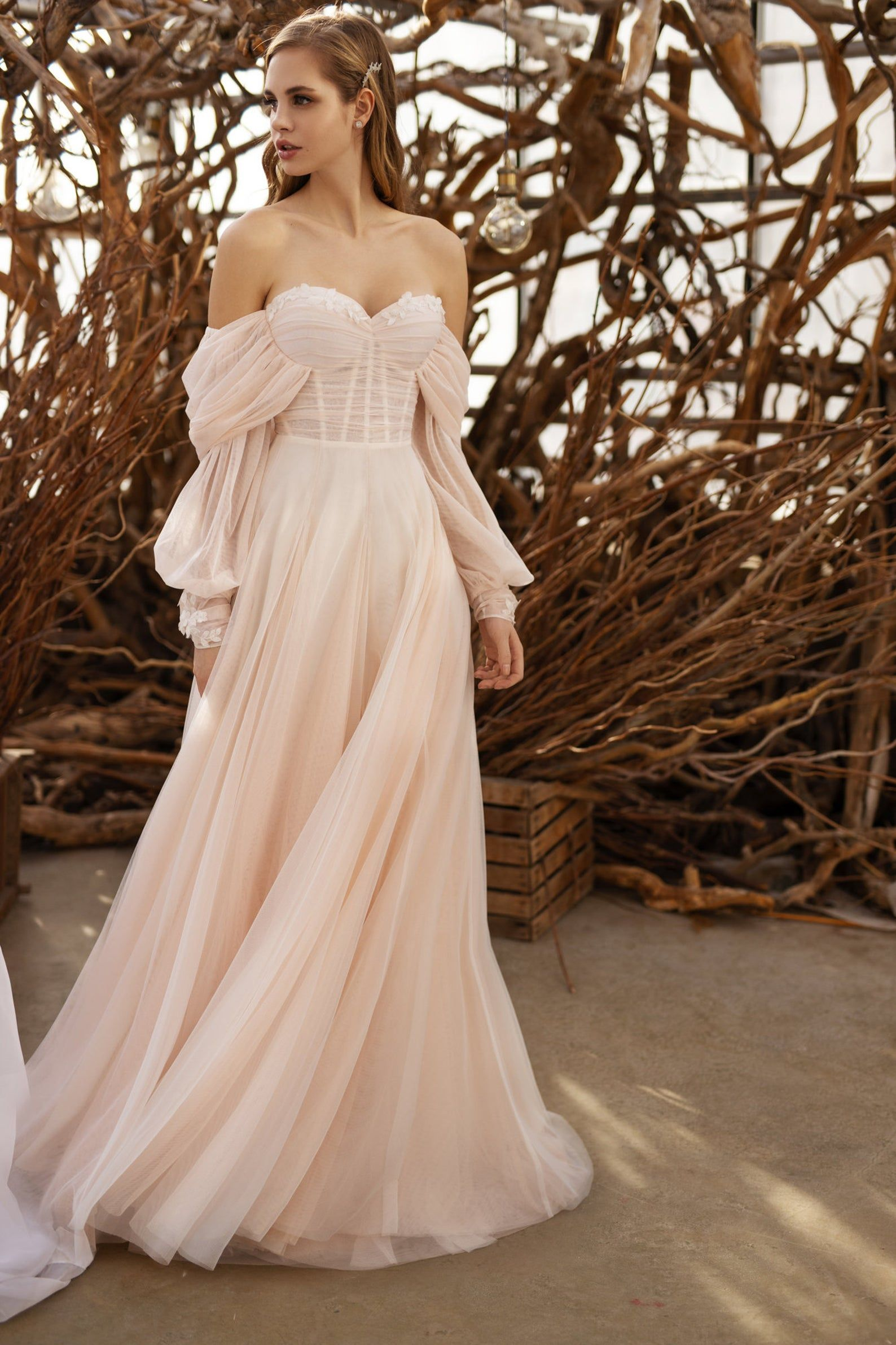 Ivory wedding dress, tulle sweetheart bridal gown,