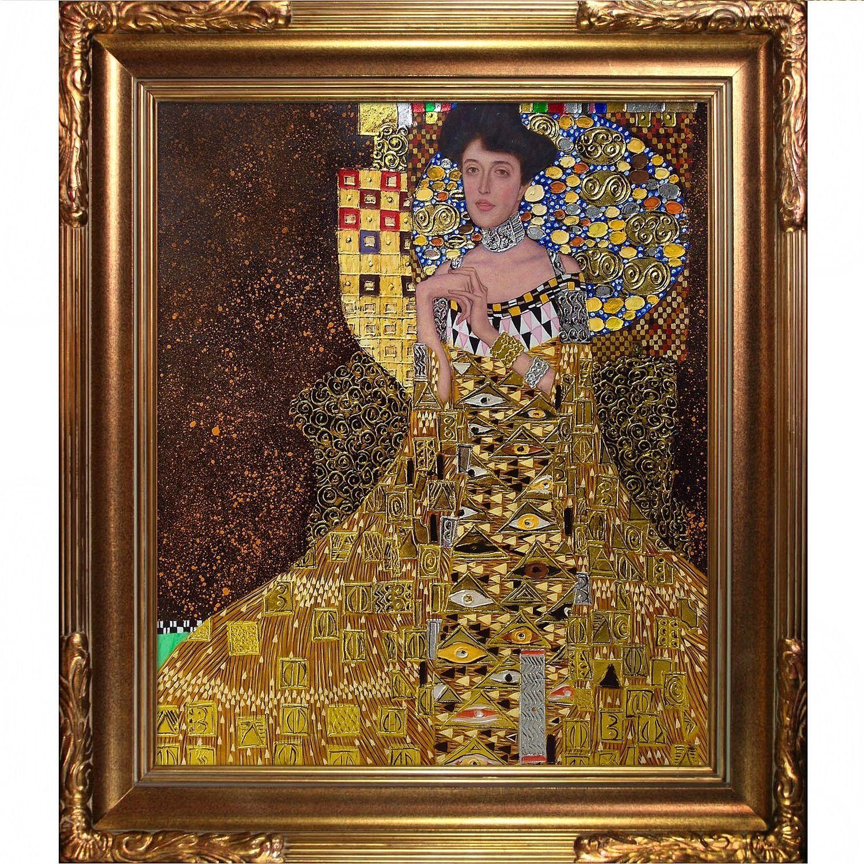 La Pastiche Gustav Klimt 'Portrait of Adele Bloch Bauer I' Luxury Line Hand Painted Framed Art