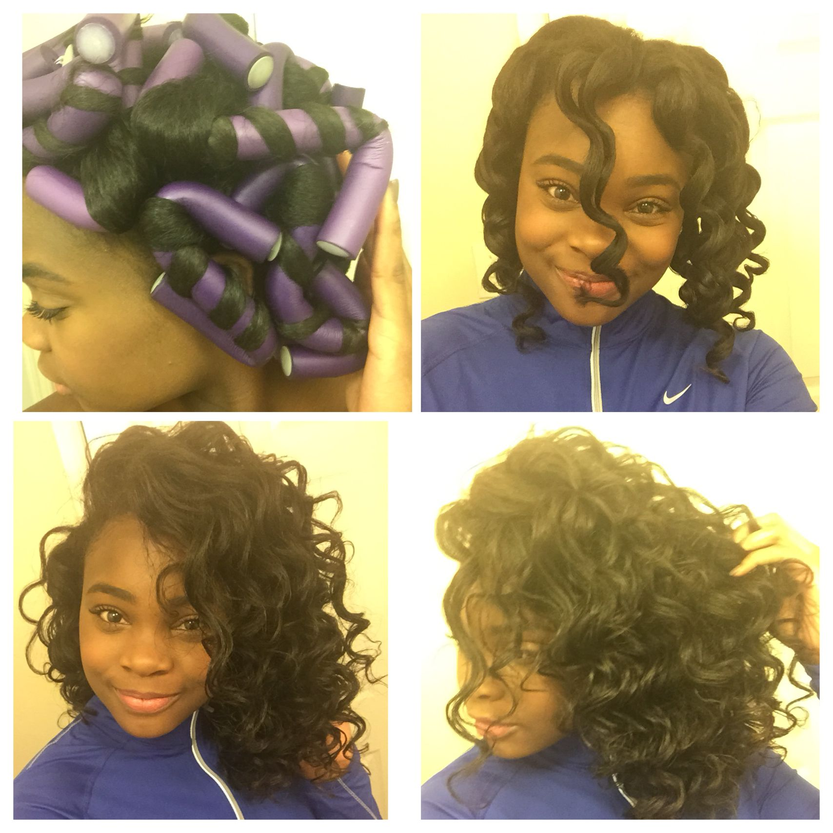 Jumbo Flexi Rod Set I Used Ecostyler Gel And Moisturizing Cream Natural Hair Styles Hair Styles Relaxed Hair
