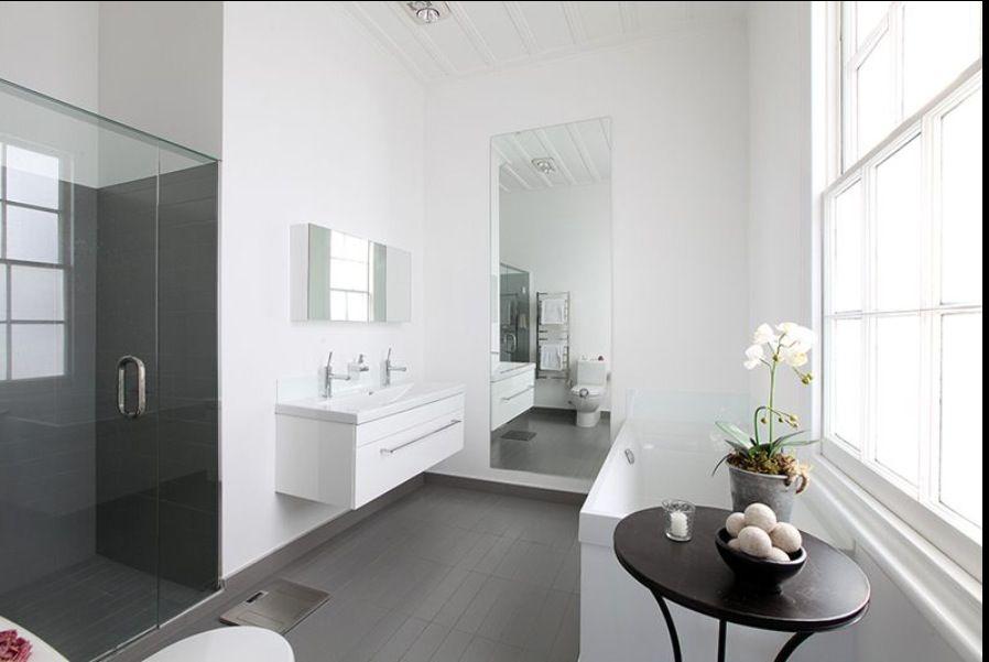 White Walls Grey Floors In The Bathroom Grey Flooring Grey
