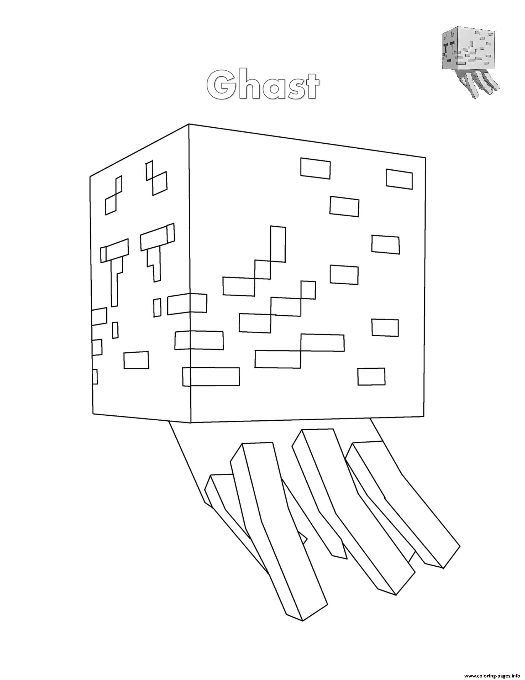 Minecraft Coloring Pages Ghast on a budget