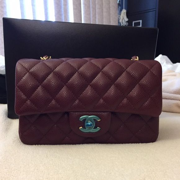 9433c91a517b Chanel classic mini flap bag in burgundy Brand new, 100% authentic,  purchased in 2015, chanel classic mini flap bag in burgundy, caviar with  gold hardware.