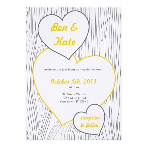 Wood Grain Wedding Invitations - Yellow and Grey | Yellow wedding ...
