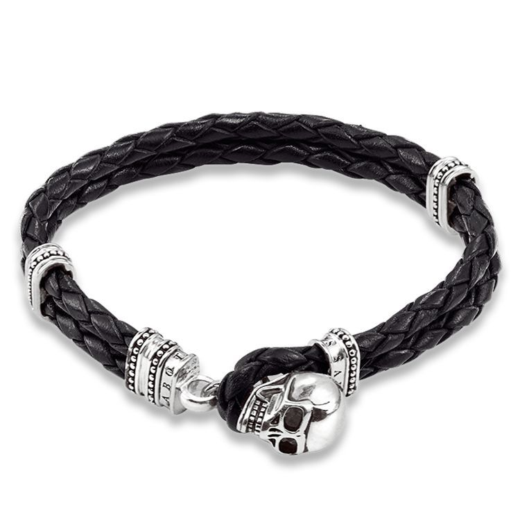 Leather bracelet with toggle clasp 925 Sterling silver, rhodium plated leather, black New: the skull as the toggle closure for the plaited leather bracelet is the trend of the season. Width: 0.8 cm