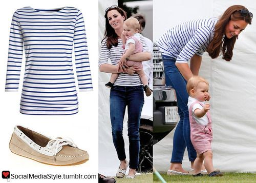 2a845cfbf81 Kate Middleton s Striped Shirt and Taupe Loafers in 2019