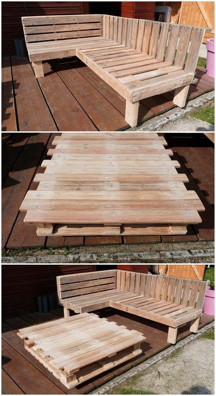This Is Simply So Creative Designed Wood Pallet L Shaped Couch Design And Table That Is Interestingly Des Outdoor Couch Diy Diy Patio Furniture Diy Patio Table