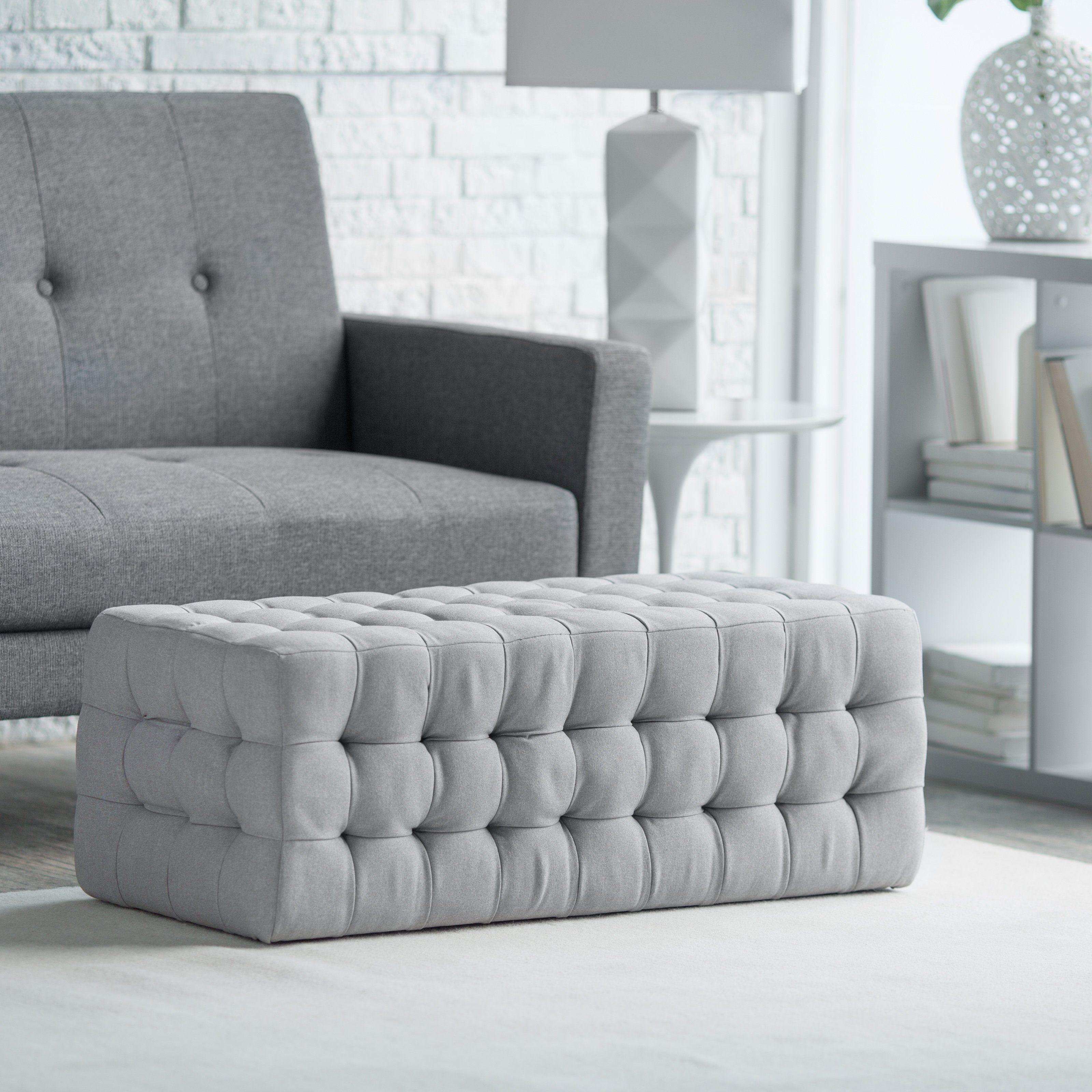 Belham Living Allover Tufted Rectangle Ottoman - Grey | from ...