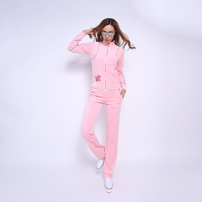 Juicy Couture FW2017 Velour Tracksuit 2pcs Rose Embroidery Women Suits Pink 2a5d6feed