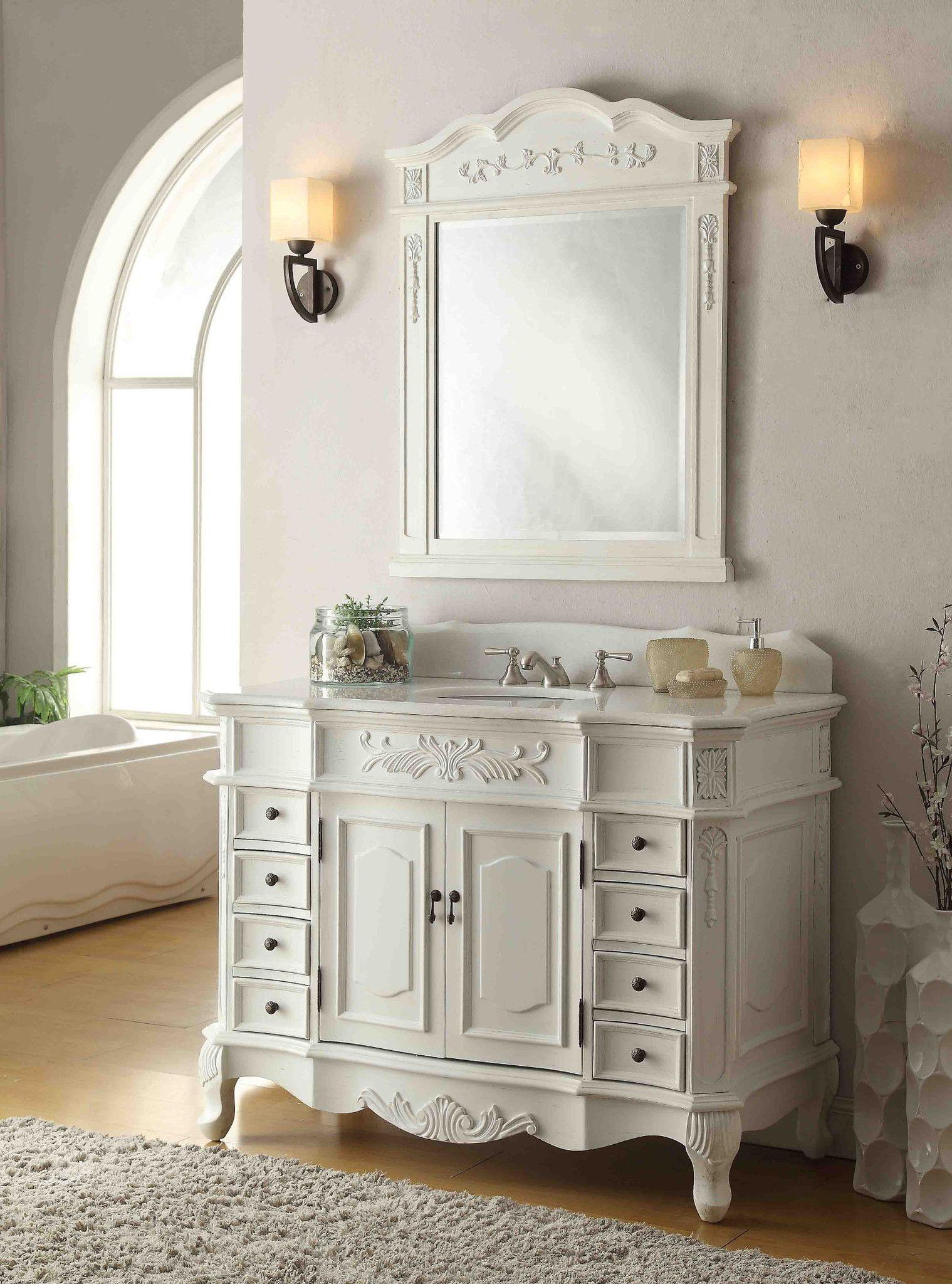 48 Antique White Morton Vanity Mirror Set Hf 2815w Aw Mir 2815