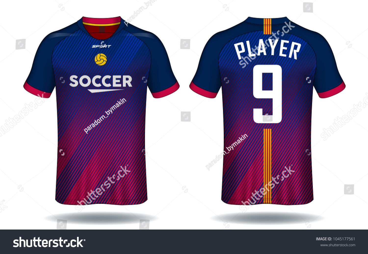 Soccer jersey template.Red and Blue layout sport t-shirt design ... 1ae862031