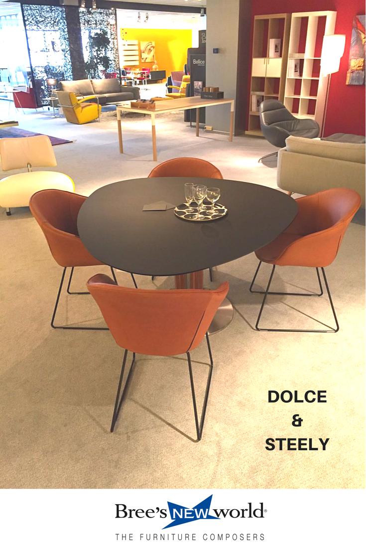 Design eettafel Steely met kuipstoelen Dolce in leder Rancho cognac ...