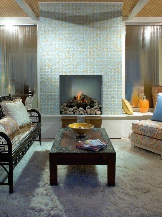 Oceanside Glass Tile On Fireplace Tessera Beach Blonde