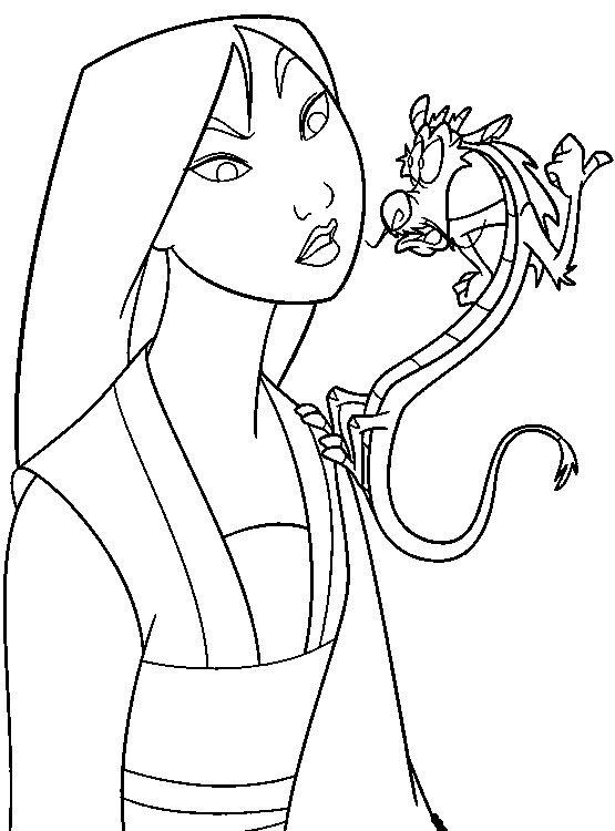 Mulan And Mushu | Mulan Coloring Pages | Pinterest