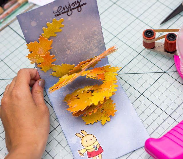 Открытка своими руками ко дню учителя из бумаги с осенними листочками, картинках