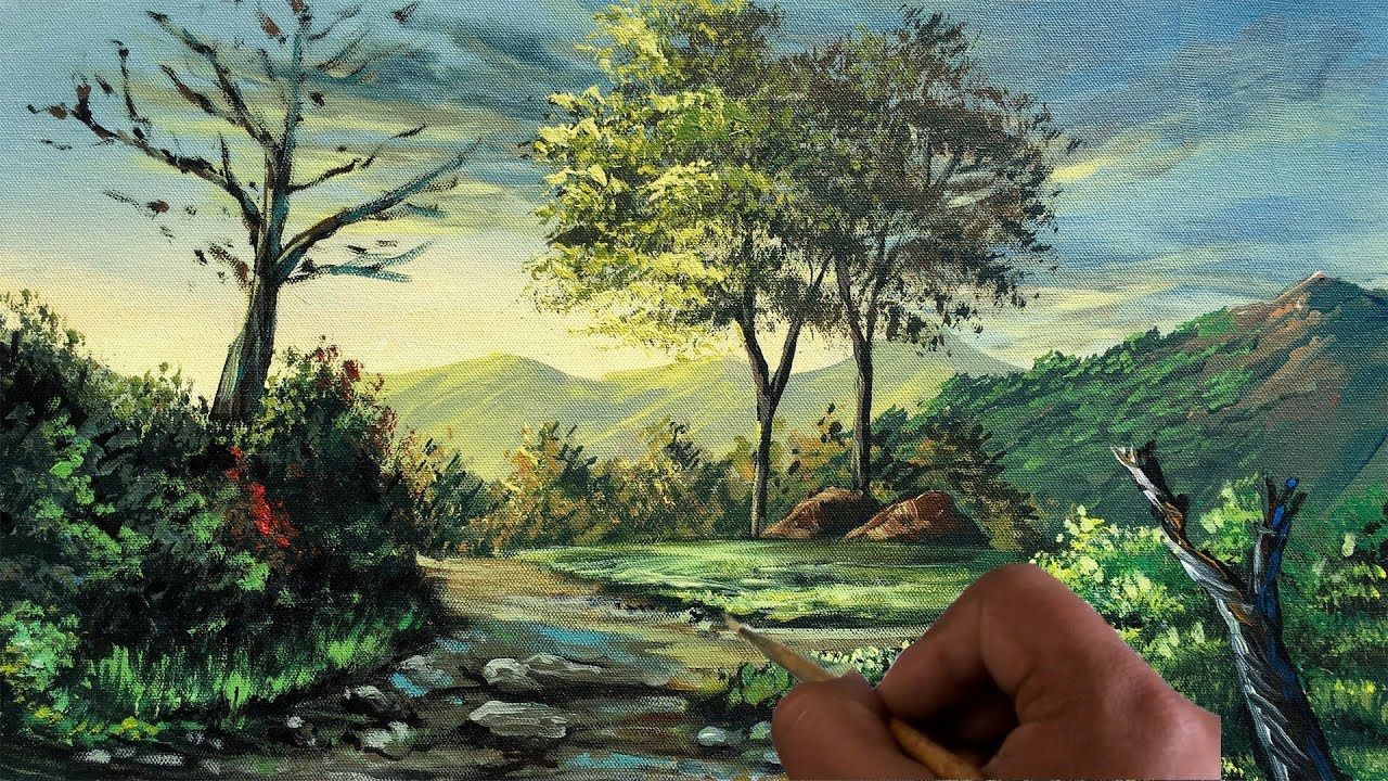 How To Paint A Realistic Landscape Painting Acrylic Painting Tutorial Landscape Paintings Landscape Painting Techniques Landscape Painting Tutorial