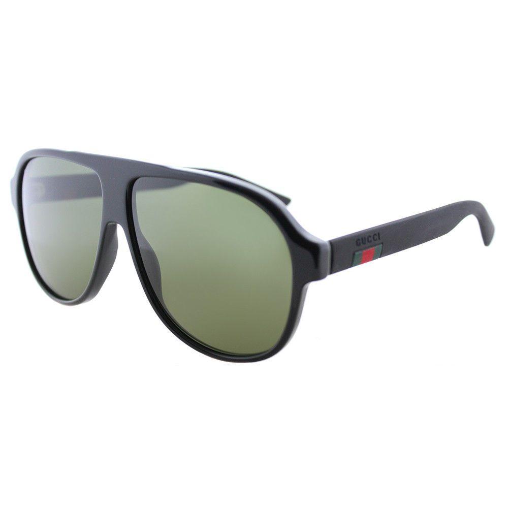 c7c027228fa New Authentic Gucci GG0009S 001 Black Plastic Aviator Sunglasses Green Lens