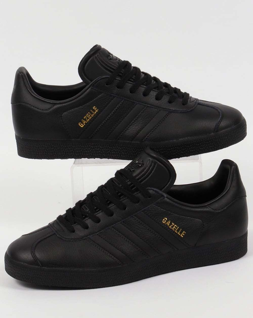 top fashion 79b07 daf87 Adidas Originals - Adidas Gazelle Leather Trainers In Black - Retro 80S 90S  Sale