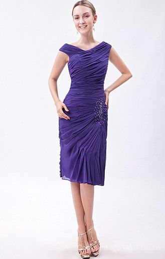 06903dfe5faf Chiffon Sheath Knee-length Blue Natural Sleeveless Royal V-neck Modern  Ruched/Sequins/Beadin Zipper Bridesmaid Dress