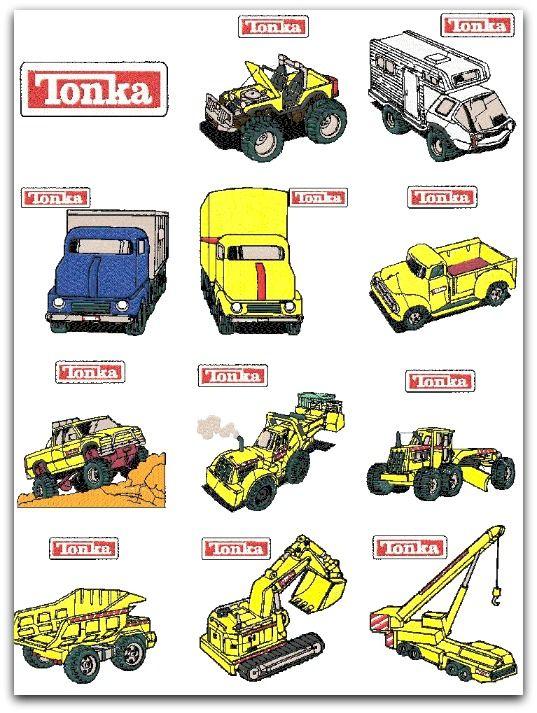 Tonka Trucks Construction Embroidery Designs Set Of 12 4x4
