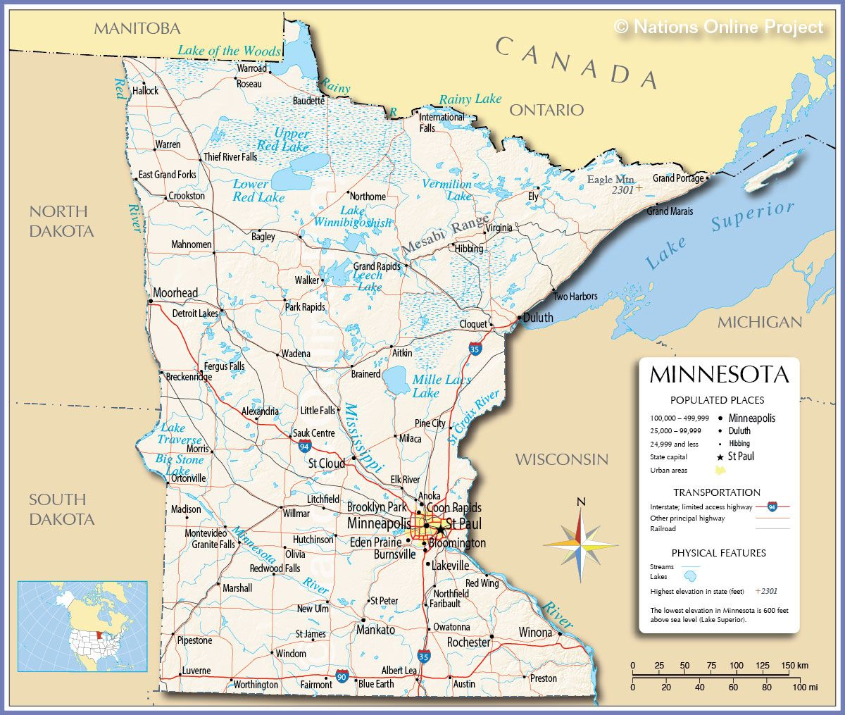 Reference Map of Minnesota MN US States Somali