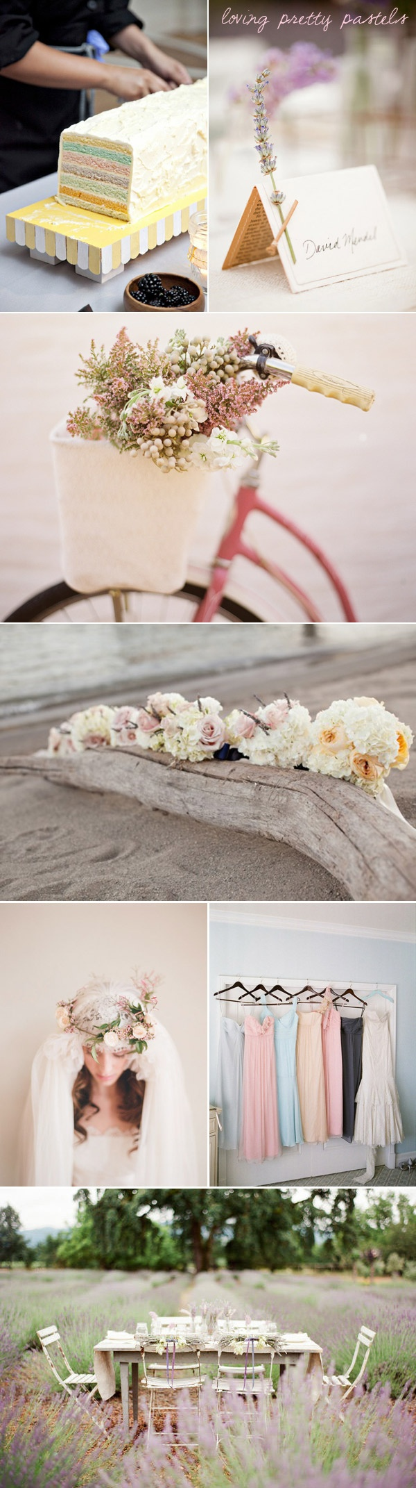 Pastels are so popular for 2013 weddings. Love the driftwood flower arrangement.