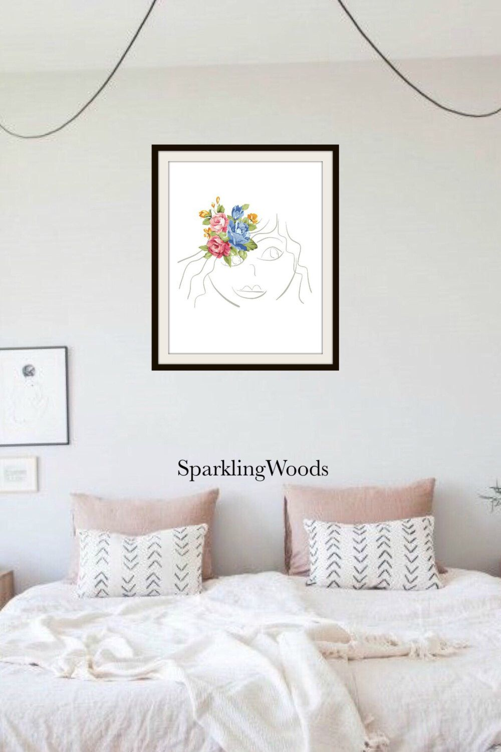 Drawing Portrait Female Line Art Floral Rustic Wall Decor Instant Digital  Download By SparklingWoods On Etsy