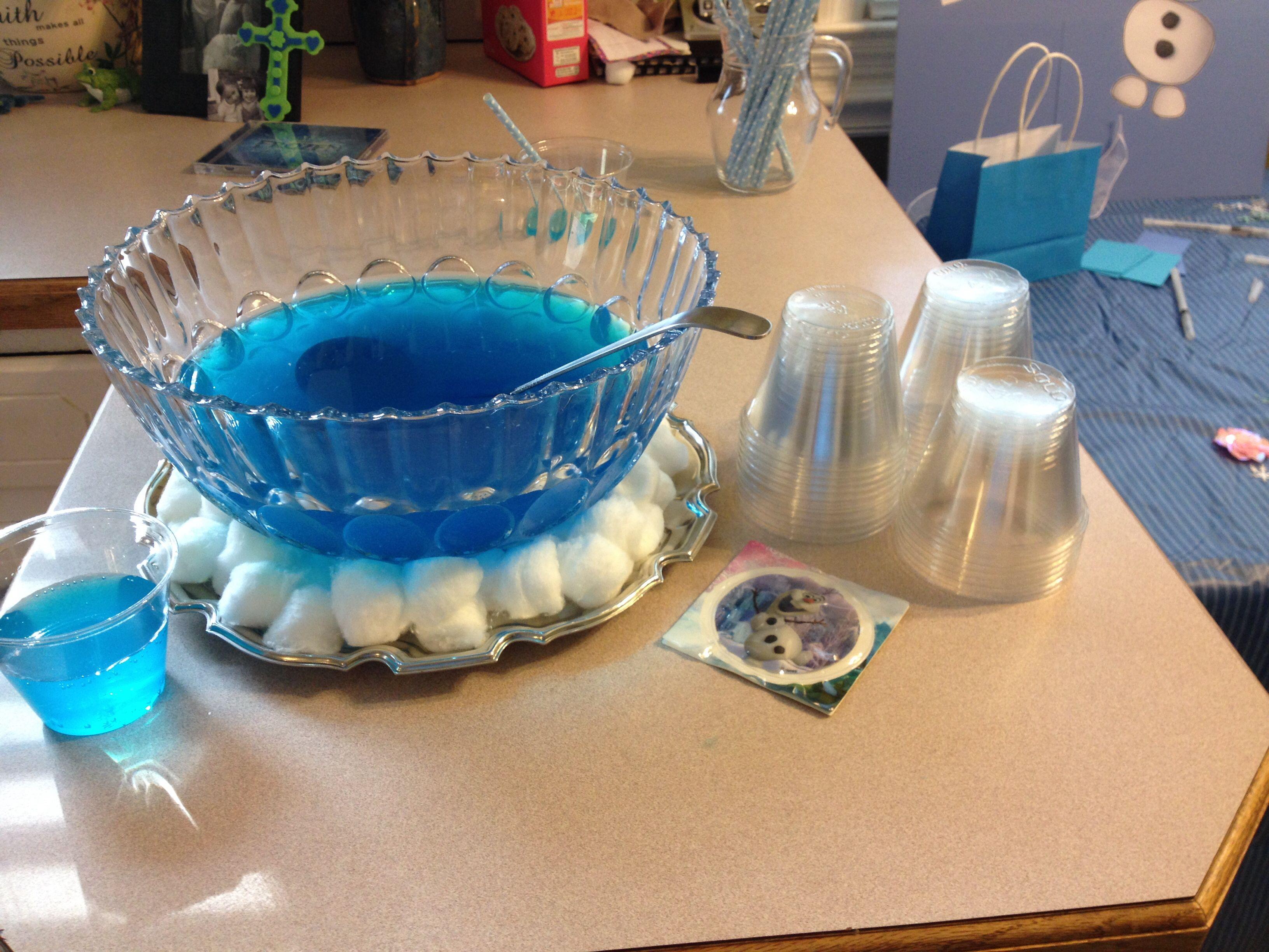 Frozen Party  Cotton Balls Under Punch Bowl Punch Blue Hawaiian