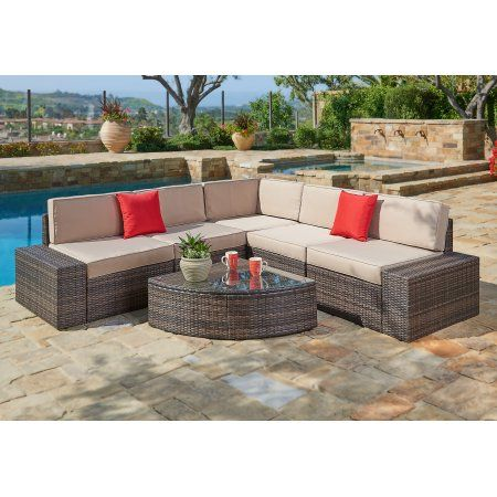 Suncrown Outdoor Furniture Sectional Sofa Wedge Table 6 Piece