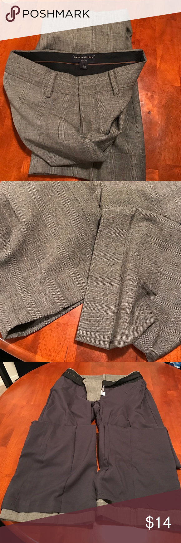 Never worn Bannana Republic Ryan Fit Perfect condition slacks pictured also inside out to show zero damage inside or outside of pants inseam is 32 1/2 inches. Size 4 Banana Republic Pants