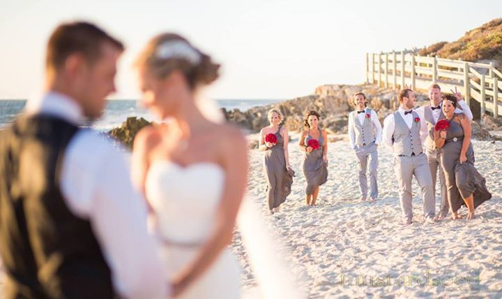 Love Selina's beach wedding photos at Illuka beach. Just beautiful & love your cheeky & fun bridal party. Bridesmaids: @goddessbynature signature ballgowns in Dark Platinum colour.  Photography: Mustard Seed Photography
