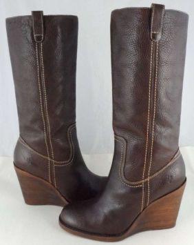 f5dc680458b1 Frye Caroline Campus Wedge Dark Brown Boots 46% off retail