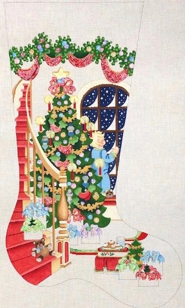 tree with boy at window stocking cs389 is a christmas needlepoint canvas design from strictly christmas available at the needle nook of la jolla - Strictly Christmas Needlepoint