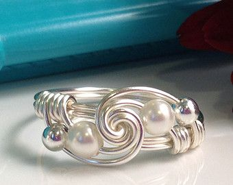 White Pearl Ring Wire Wrapped Jewelry Handmade Ring by theWRAPstar