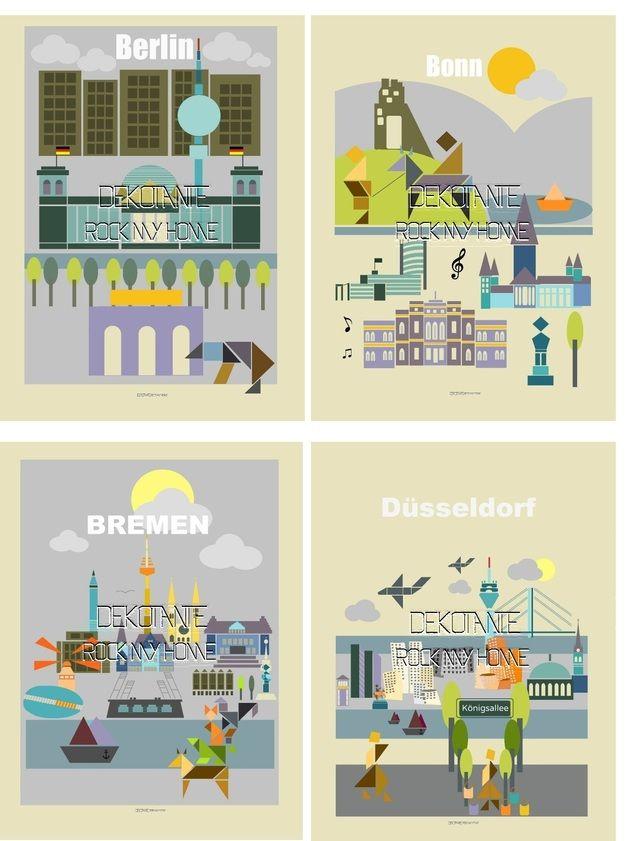 Städteposter / Travel Poster Berlin Bonn Bremen