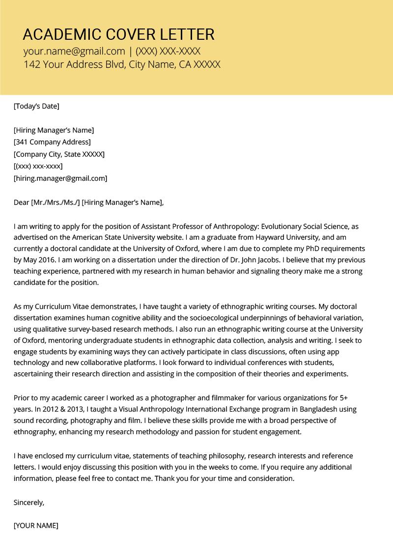 Academic Cover Letter Sample Writing Tips Resume Genius