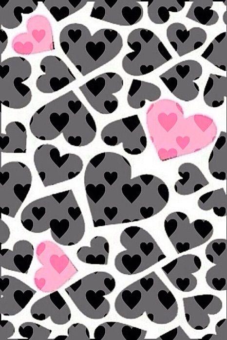 Image Via We Heart It Blackwhite Hearts Wallpaper