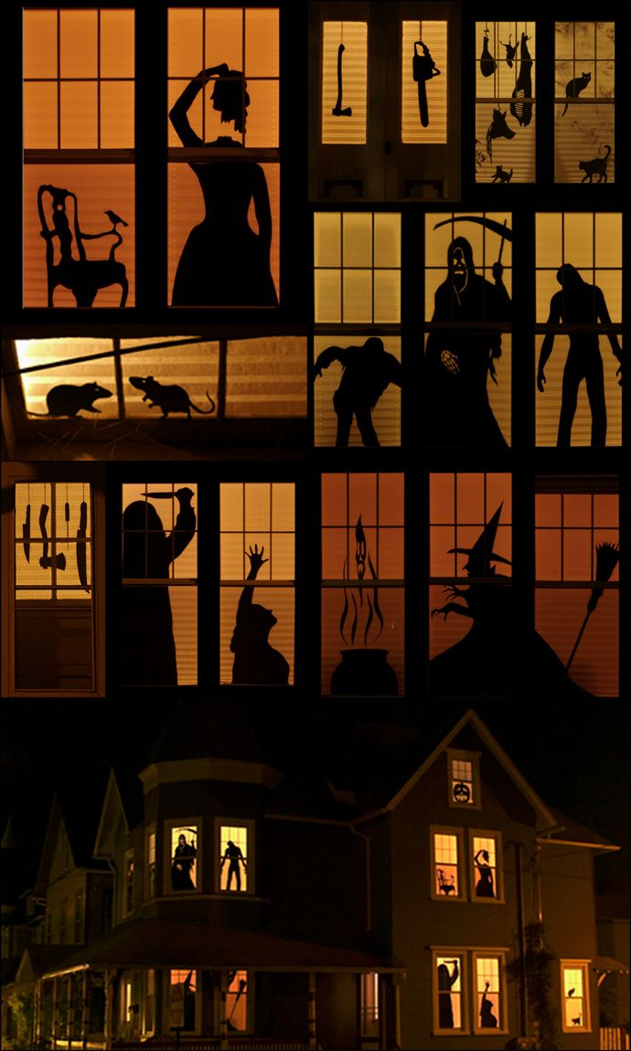 Window decor for halloween  how to haunted house silhouettes  silhouettes halloween window