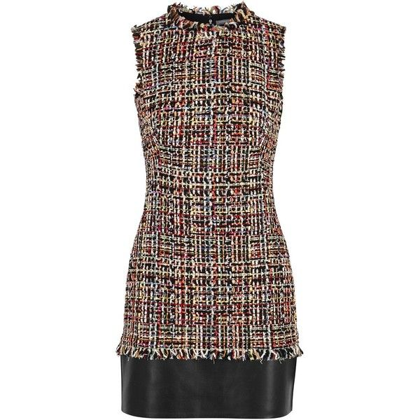 Alexander McQueen Tweed And Leather Dress - Size 8 (166.215 RUB) ❤ liked on