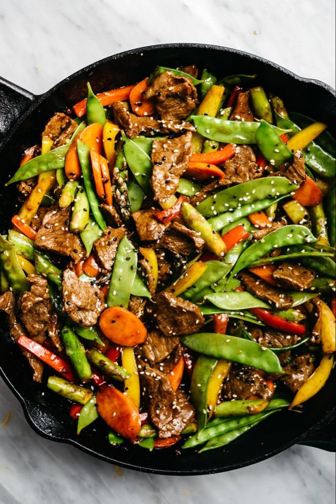 Mostly Vegetable Steak Stir Fry #healthystirfry