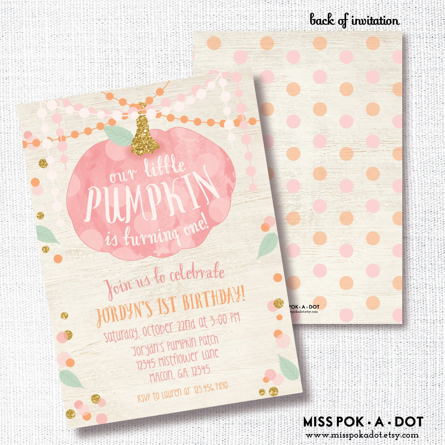 OUR little PUMPKIN is ONE fall girl 1st first birthday invite pink