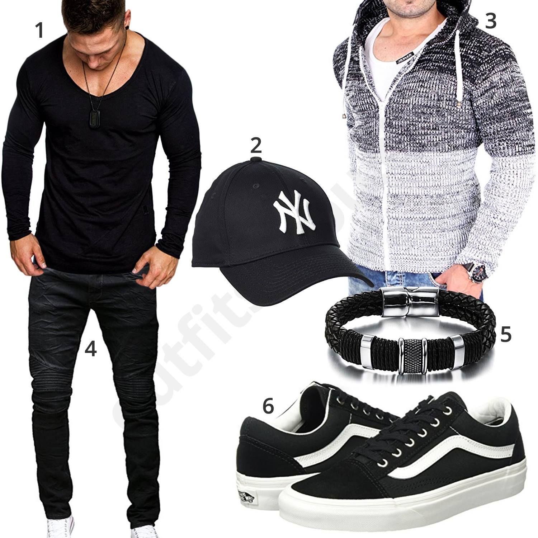 Schwarzes Outfit mit lässiger Strickjacke (m0606 | Mens