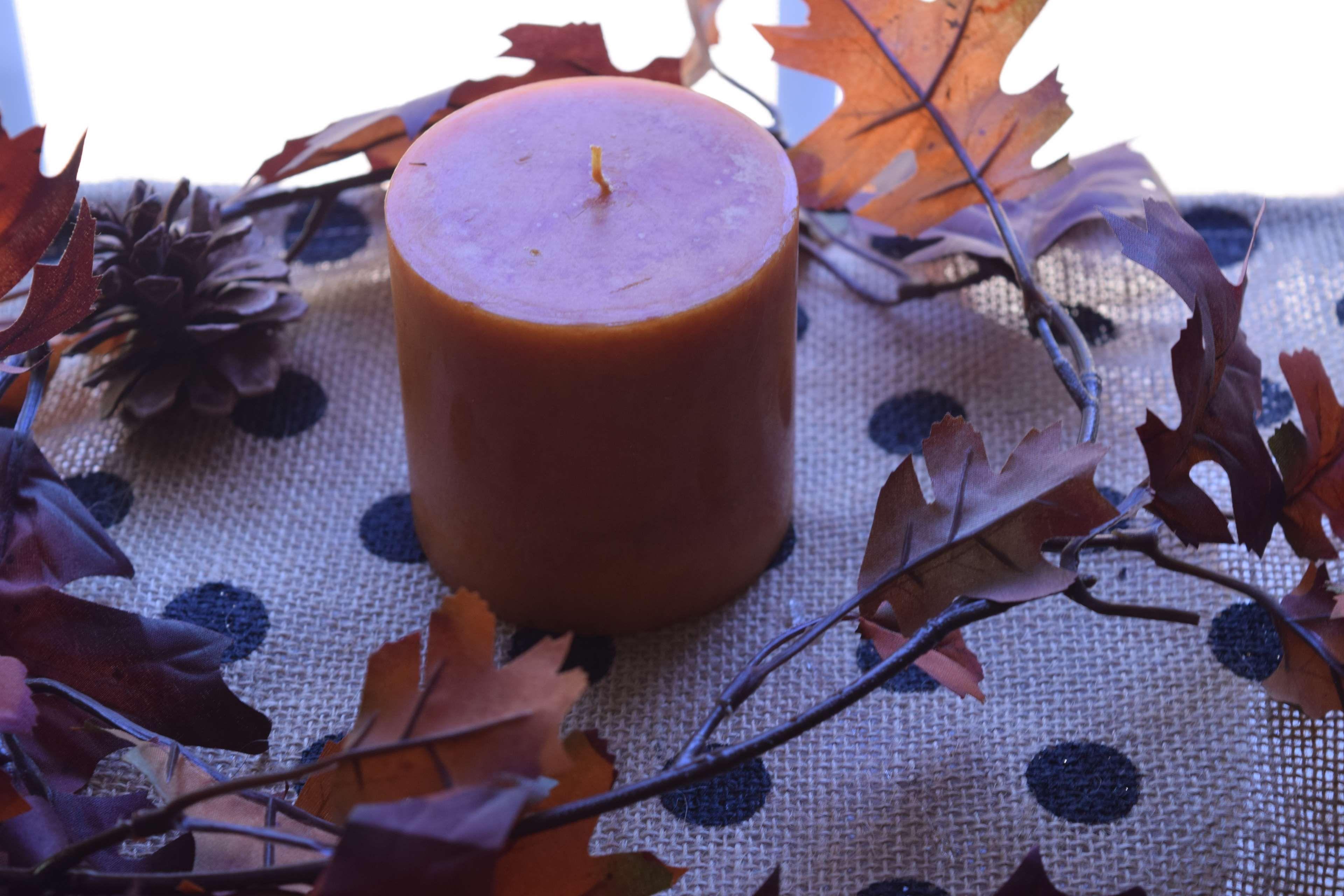 #autumn leaf #candle #fall #leaves #polka dot