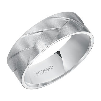Woven Men S Wedding Band With A Satin Finish By Artcarved