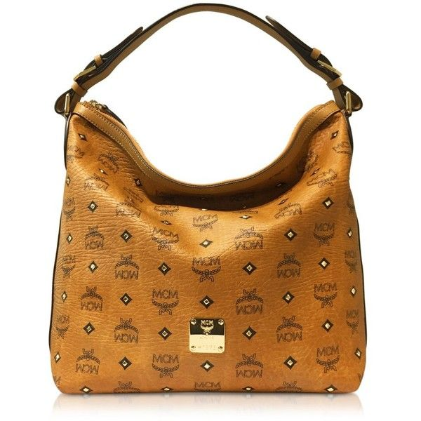 MCM Handbags Gold Visetos Cognac Small Hobo Bag ($995) ❤ liked on ...