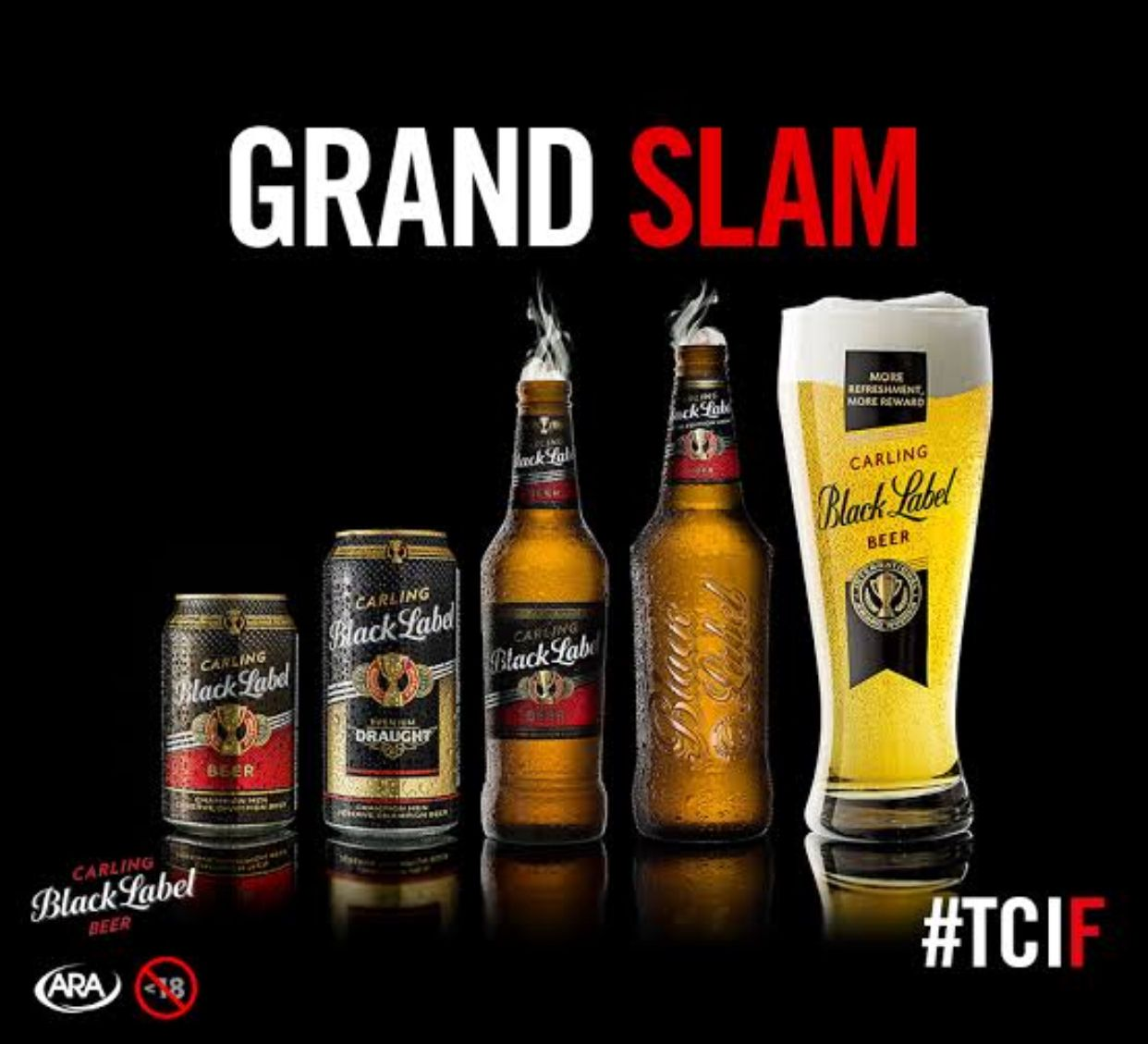 Different Shapes And Sizes Of Our Craft Beer Carling Black Label