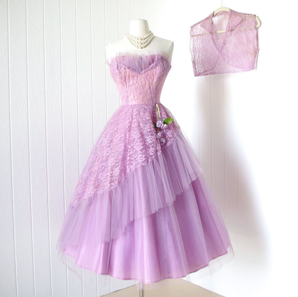 Vintage 1950 S Dress Fanciful Lavender Lilac Tulle Bursting Shelf Bust Asymmetrical Floral Swag Full Skirt Prom Party Dress With Bolero Vintage 1950s Dresses Dresses Prom Party Dresses [ 996 x 1000 Pixel ]