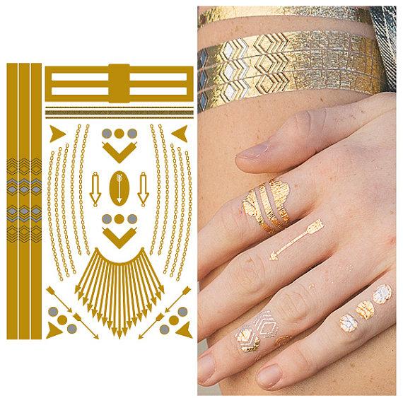 Metallic Flash Tat Jewelry Temporary Tattoo - Keep It Simple, Stupid - (1 Sheet)