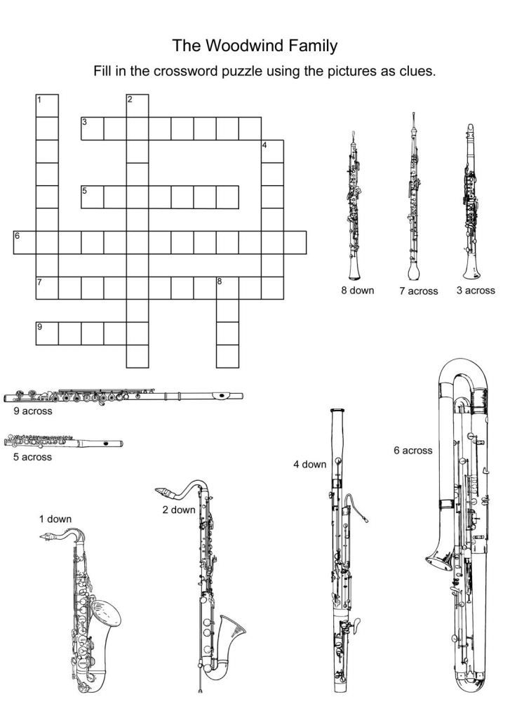 woodwind instruments crossword puzzle music class resources pinterest woodwind instrument. Black Bedroom Furniture Sets. Home Design Ideas