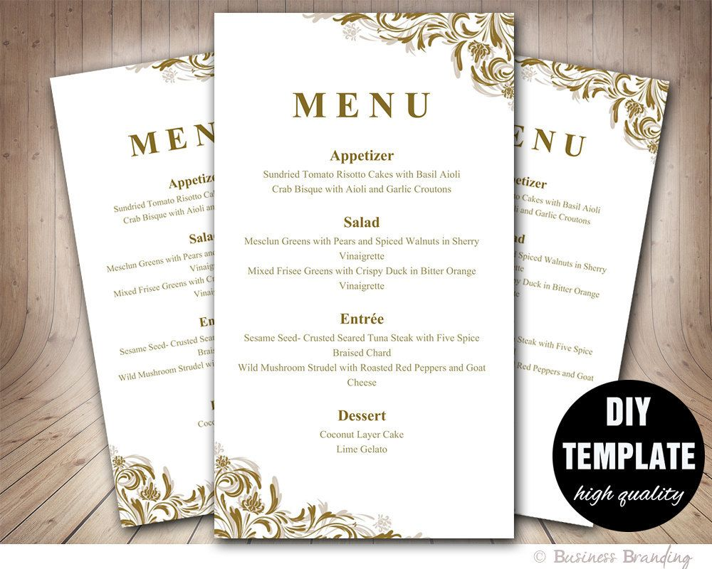 Gold Menu Template Diy Wedding Menu Card XGold Wedding Menu
